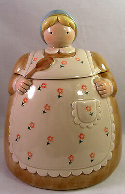 Otagiri Cookie Jar Woman Apron Wooden Spoon Vintage Made in Japan Excellent Cond
