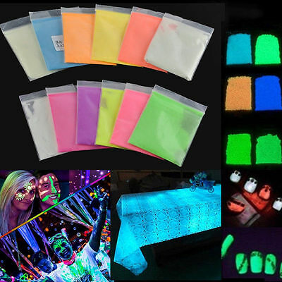 10 Colors Hot Fluorescent Super Bright Glow in the Dark Powder Glow Pigment DIY