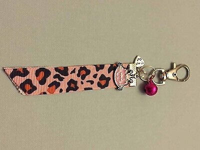 Anti-Theft Cat Purse Handbag Ribbon Charm With pink Bell & Metal Cat Charm