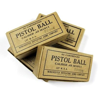M1911 Cal 45 Pistol Ball Cardboard Box Wra Co Winchester Repeating Arms Olin