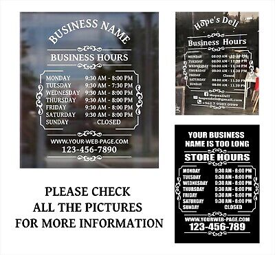 "Custom Business Store Hours Sign Vinyl Decal Sticker 11""x15"" door, window."