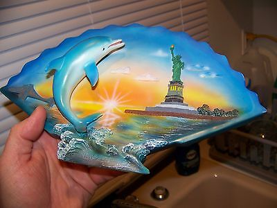 Vintage Glass Ceramic Dolphin & New York City Statue Of Liberty Wall Hanging Art