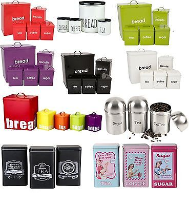 4/5 Pieces Bread Bin Sets Tea, Coffee, Sugar, Biscuits Or Utensils Canisters Jar