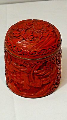 Antique Chinese Carved Exquisite Cinnabar Cigarette Box W/people On Landscape