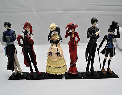 Black Butler Kuroshitsuji Ciel Japan Anime figures Set of 6pc, Free Shipping