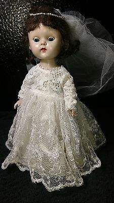 Vintage Vogue Ginny doll straight leg walker painted lashes tagged dress