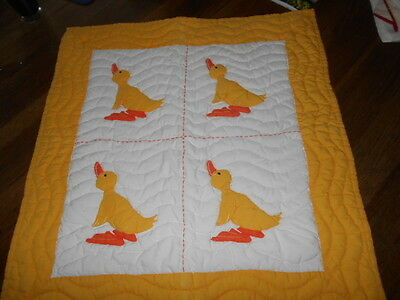 Sweet Hand Embroidered Baby Quilt DUCKS by Thanh Thuy