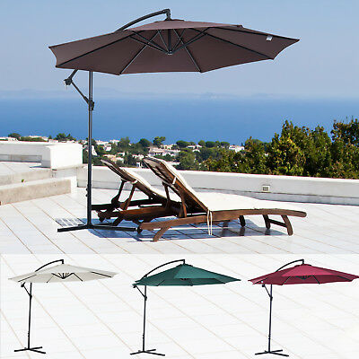 Outsunny Φ10' Deluxe Patio Umbrella Outdoor Market Parasol Banana Hanging Offset