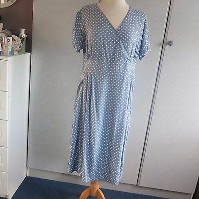 Vintage Cotton Traders  Dress Size 16 Blue With White Dot