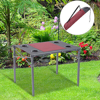 "Outsunny 30""x25""x24"" Folding Aluminum Metal Frame Picnic Party Table Portable"