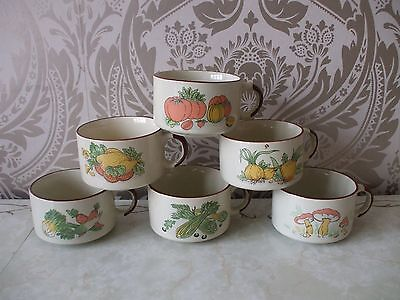 Vintage Retro Full Set of 6 kitsch Handled Soup Bowls 1970's Shell promotion NEW
