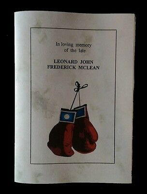 Lenny 'the Guvnor' Mclean Funeral Order Of Service (Reproduction)