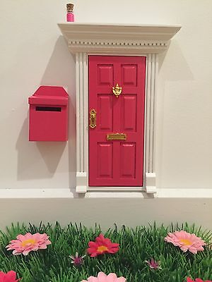 Hot Pink Wooden Fairy Door with Fairy Mail Post Box Magic Key and Fairy Dust