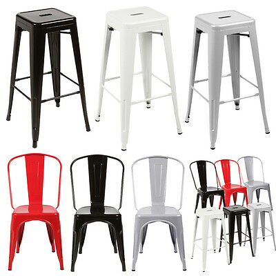 2x/4x Replica Tolix Xavier Bar Stool Metal Steel Kitchen Cafe Home Dining Chair