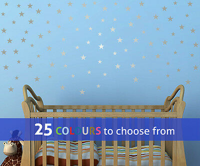 MIXED 1 and 1.5 inch STARS set, pack of 95, wall art sticker decal baby nursery