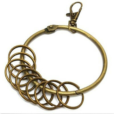 FD4041 Vintage Bronze Round Alloy Chain Lobster Clasp Antique Key Rings ~Big~♫