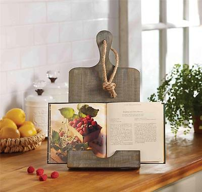 Mud Pie Circa Collection Rustic Weather Wood Cookbook Book Holder Stand 4721003