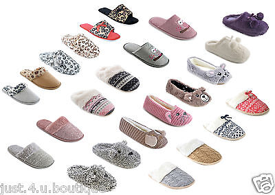 Ladies Ballerina Mule Slippers Leopard Cat Bear Knitted Size 3 4 5 6 7 8