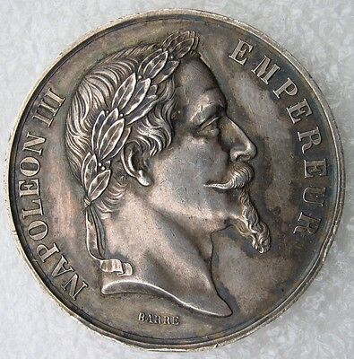 Medaille Argent Napoleon Iii Rouen 1868 Concours Agricole