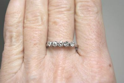 Fine Vintage Classic 18 Ct White Gold O. 50Ct Five Stone Diamond Ring R1/2 3.g