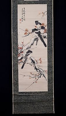 Very Long Old Chinese Scroll Hand Painting Birds WangXueTao Mark PM015
