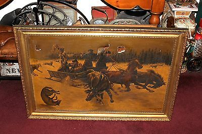Antique S. Fiordimalva Signed Oil Painting-Russian Hunters Attacked By Wolves