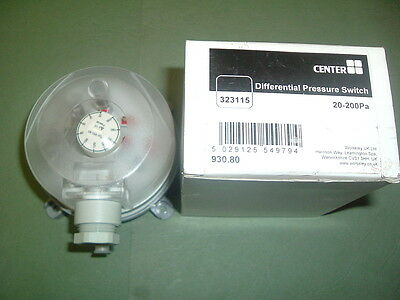Center 930 80....... Pressure Switch Differential 20-200Pa Part 323115 New Boxed