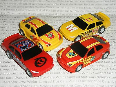 MICRO Scalextric - 2x US Stock Cars & 2x Team Cars (Red/Yellow) - Mint Cdn.