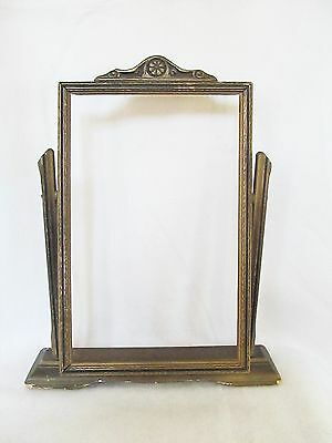 "Antique Swivel Easel Wood Picture Frame Holds 7"" x 11"" Ornate"