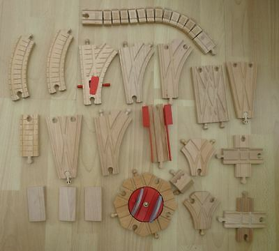 Thomas The Tank Wooden Train Track 21 Assorted Size Track Items Points Turntable