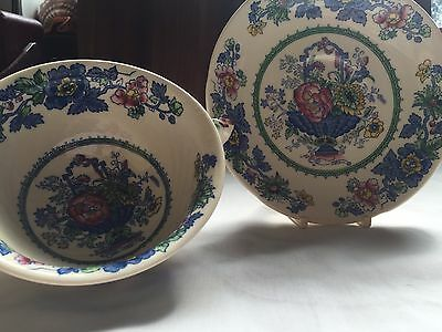 Vintage Masons Ironstone 2 Handled Soup Dish and Saucer Strathmore