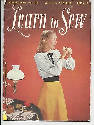 ORIGINAL VINTAGE 1950s LEARN TO SEW BOOK J & P Coats booklet HOW TO SEW GUIDE