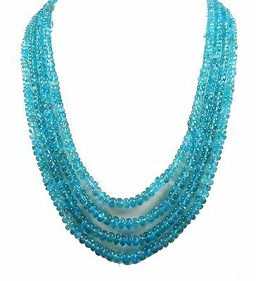"504.85 cts Natural Blue Apatite Rondelle 4-7 MM Beads 4 Strands 18.5"" Necklace"