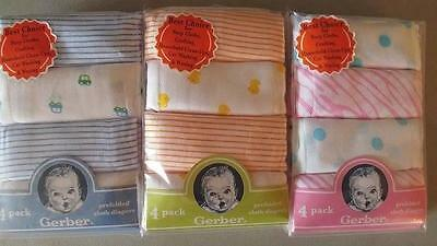 New Gerber 4 pk Diapers, Baby Shower, Burp cloth, Car, Duck
