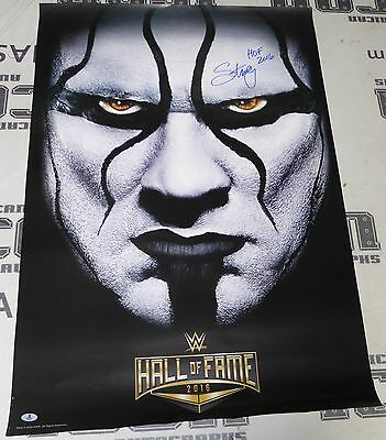 Sting Signed Official WWE 2016 Hall of Fame 24x36 Poster BAS Beckett COA Auto'd