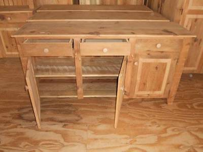 Amish Built Unfinished Reclaimed Barnwood Pine Buffet Server Storage Cabinet 60""