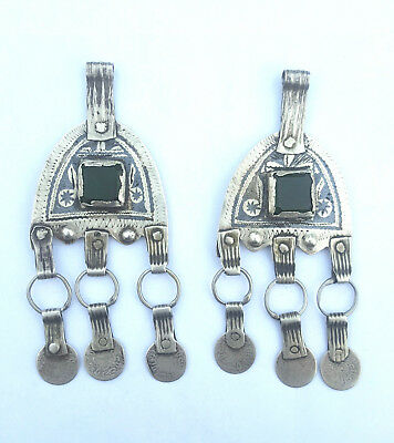 Morocco lot of 2 old Berber silver, niello and green glass pendant for necklace