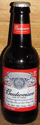 "Large 15"" BUDWEISER Glass Beer Bottle Advertising Bank Embossed Pitcher - Empty"