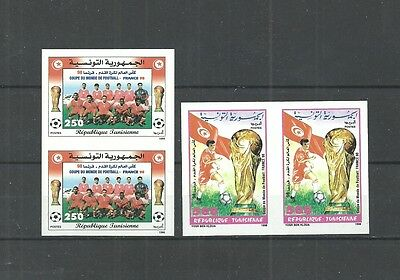 1998- Tunisia- Imperforated pair-World Soccer Cup - Football- France 98