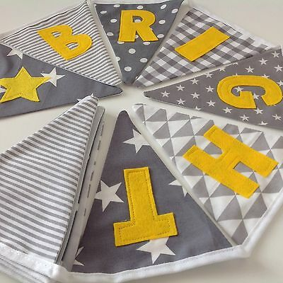 PERSONALISED BUNTING BIRTHDAY baby GIRL nursery Bedroom Grey/yellow £1.50 Letter