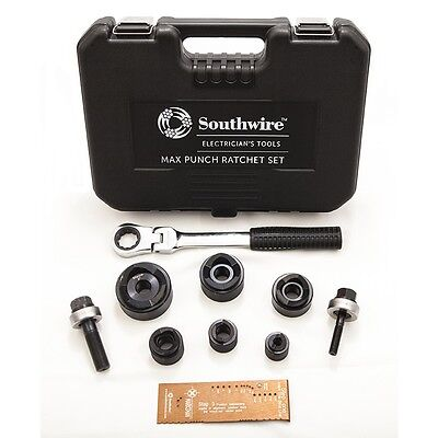Southwire 9-Piece Max Punch Ratchet Knockout Punch Set Kit w/ Case MPR-01SD NEW