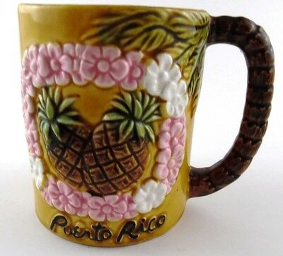 Puerto Rico Raised 3D Coffee Cup Mug Pineapple Flowers Lei Tropical Vintage