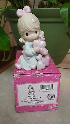 """Precious Moments  """"overflowing With Love"""" 108523 Girl W/ Pink Iridescent Hearts"""