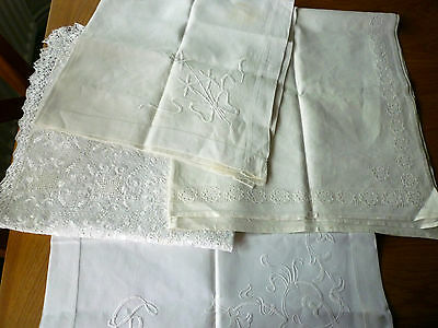 Four Vintage Linen Small Tablecloths - Lace/embroidery