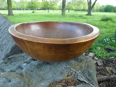 Antique Victorian English 19th Century Sycamore Mixing Bowl Treen 14 Inches