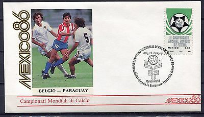s13577) MEXICO 11.6.1986 FDC  FIFA WC Football BELGIUM PARAGUAY