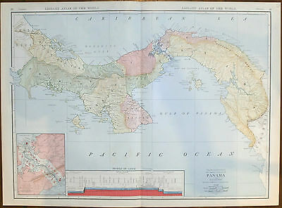 1912 Map of Panama Rand McNally Central America Carribbean Canal original LARGE