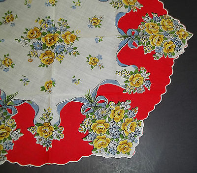 Vintage Novelty Shaped Ladies Handkerchief Yellow Roses & Red