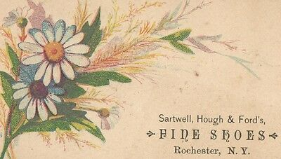 Victorian Trade Card Sartwell, Hough & Fords FINE SHOES Rochester NewYork x