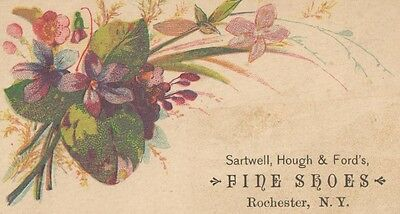 Victorian Trade Card Sartwell, Hough & Fords FINE SHOES Rochester NewYork y